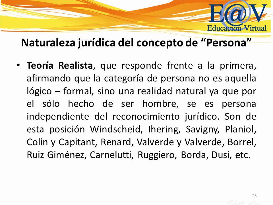 23 Naturaleza jurídica del concepto de Persona Teoría Realista, que responde frente a la primera, afirmando que la categoría de persona no es aquella