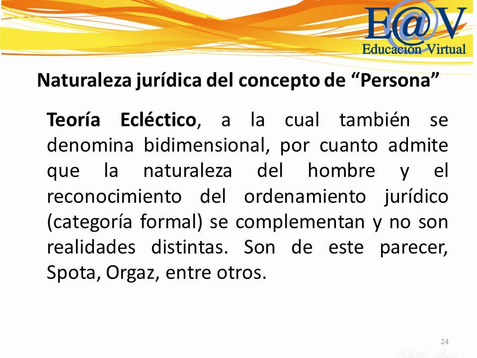 24 Naturaleza jurídica del concepto de Persona Teoría Ecléctico, a la cual también se denomina bidimensional, por cuanto admite que la naturaleza del