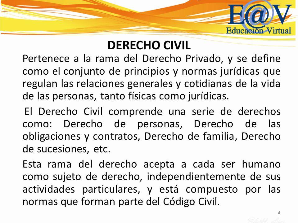 4 DERECHO CIVIL Pertenece a la rama del Derecho Privado, y se define como el conjunto de principios y normas jurídicas que regulan las relaciones gene