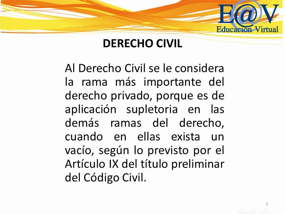 5 DERECHO CIVIL Al Derecho Civil se le considera la rama más importante del derecho privado, porque es de aplicación supletoria en las demás ramas del