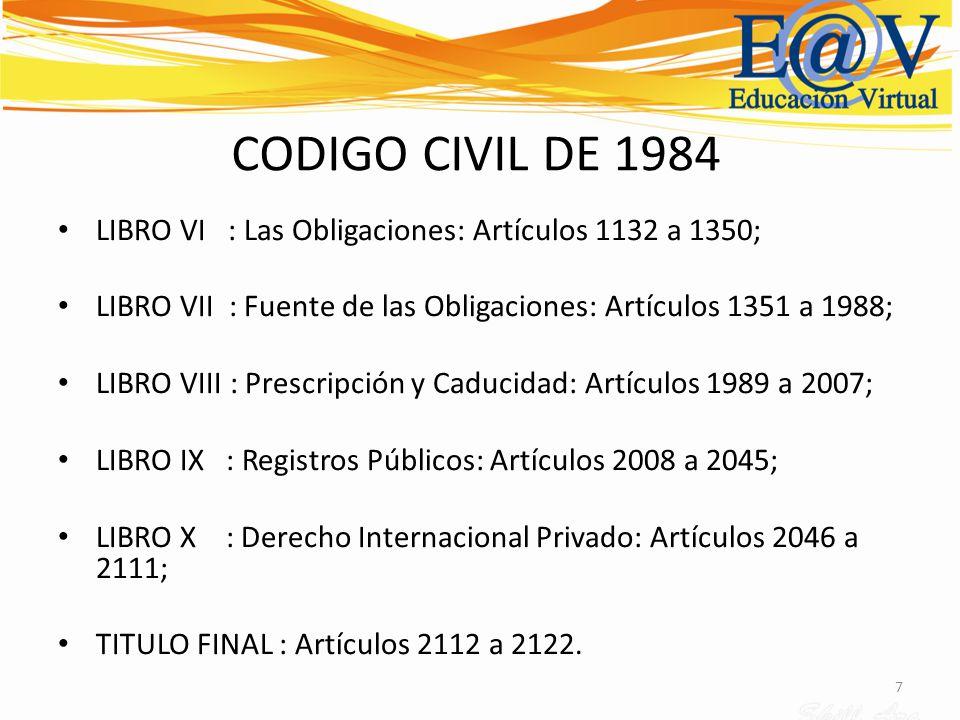 7 CODIGO CIVIL DE 1984 LIBRO VI : Las Obligaciones: Artículos 1132 a 1350; LIBRO VII : Fuente de las Obligaciones: Artículos 1351 a 1988; LIBRO VIII :