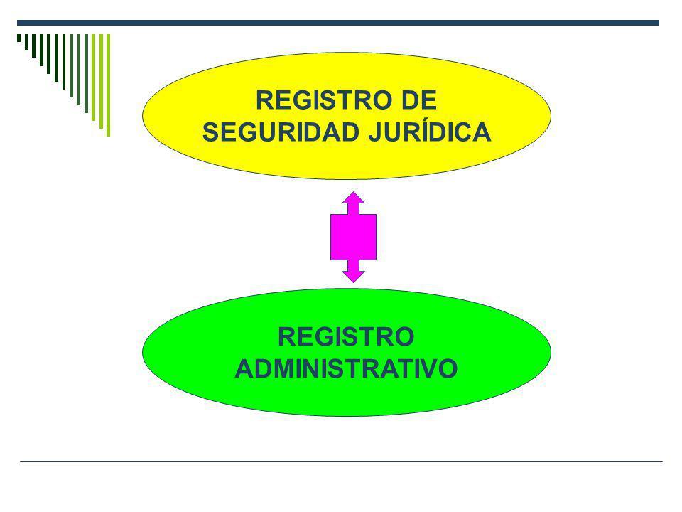REGISTRO DE SEGURIDAD JURÍDICA REGISTRO ADMINISTRATIVO