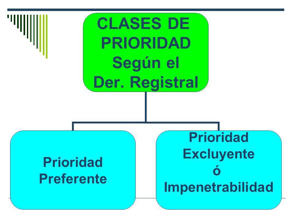 CLASES DE PRIORIDAD Según el Der. Registral Prioridad Preferente Prioridad Excluyente ó Impenetrabilidad