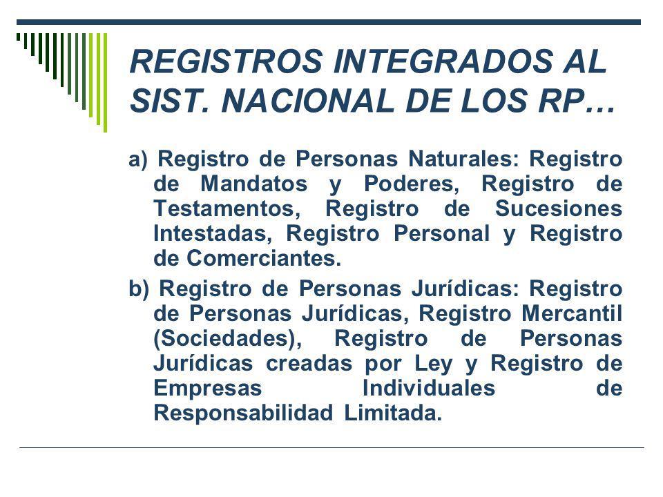 …REGISTROS INTEGRADOS AL SIST.NACIONAL DE LOS RP c) Registro de Propiedad Inmueble: Registro de Predios, Registro de Concesiones para la explotación de Servicios Públicos, Registro de Derechos Mineros.