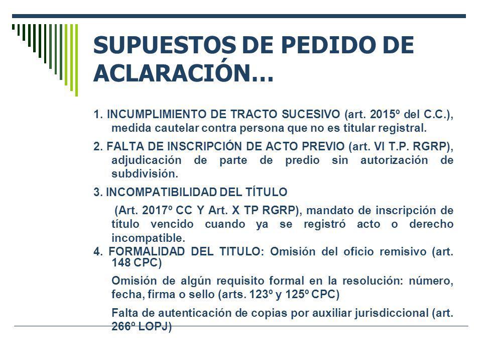SUPUESTOS DE PEDIDO DE ACLARACIÓN… 1. INCUMPLIMIENTO DE TRACTO SUCESIVO (art. 2015º del C.C.), medida cautelar contra persona que no es titular regist
