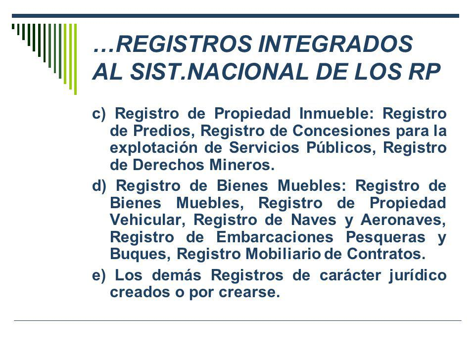 …REGISTROS INTEGRADOS AL SIST.NACIONAL DE LOS RP c) Registro de Propiedad Inmueble: Registro de Predios, Registro de Concesiones para la explotación d