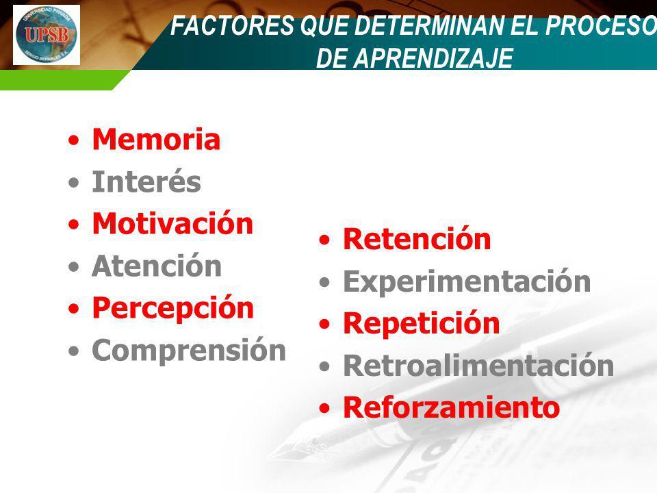 FACTORES QUE DETERMINAN EL PROCESO DE APRENDIZAJE Memoria Interés Motivación Atención Percepción Comprensión Retención Experimentación Repetición Retr