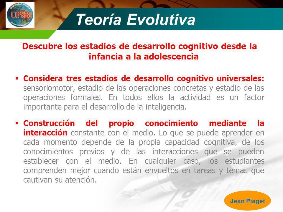 Teoría Evolutiva Descubre los estadios de desarrollo cognitivo desde la infancia a la adolescencia Considera tres estadios de desarrollo cognitivo uni