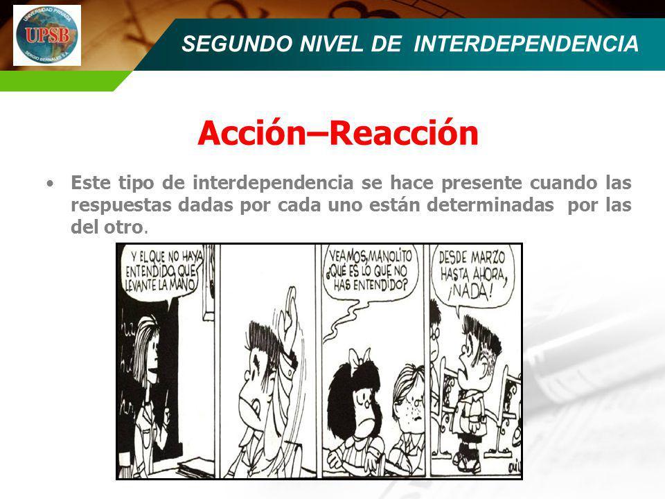 SEGUNDO NIVEL DE INTERDEPENDENCIA Acción–Reacción Este tipo de interdependencia se hace presente cuando las respuestas dadas por cada uno están determ