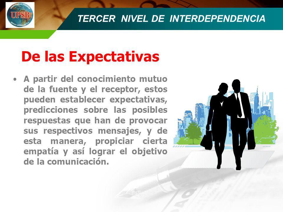 TERCER NIVEL DE INTERDEPENDENCIA De las Expectativas A partir del conocimiento mutuo de la fuente y el receptor, estos pueden establecer expectativas,