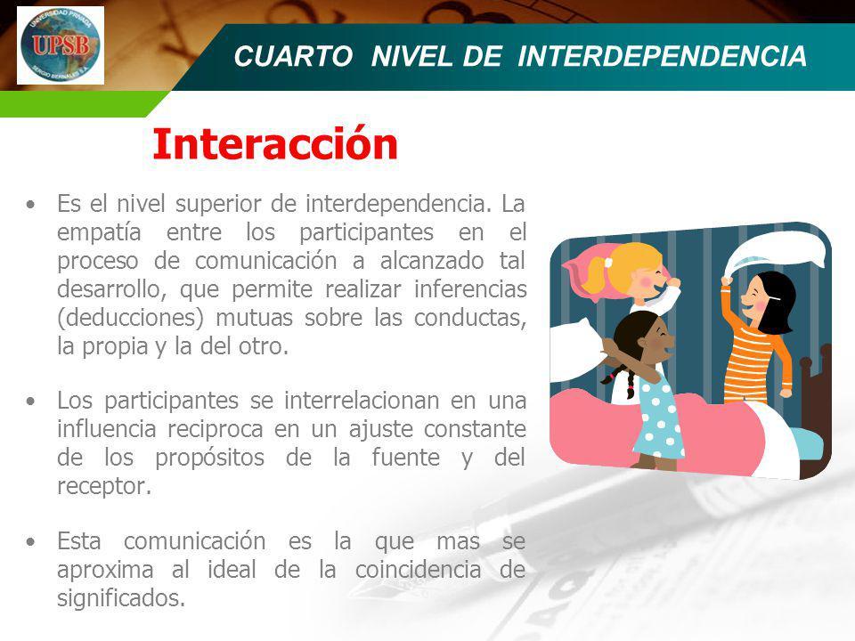 CUARTO NIVEL DE INTERDEPENDENCIA Interacción Es el nivel superior de interdependencia. La empatía entre los participantes en el proceso de comunicació
