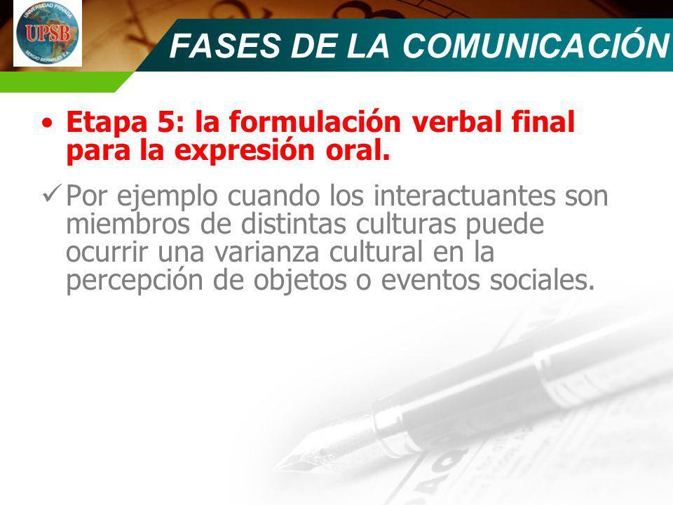 Etapa 5: la formulación verbal final para la expresión oral. Por ejemplo cuando los interactuantes son miembros de distintas culturas puede ocurrir un