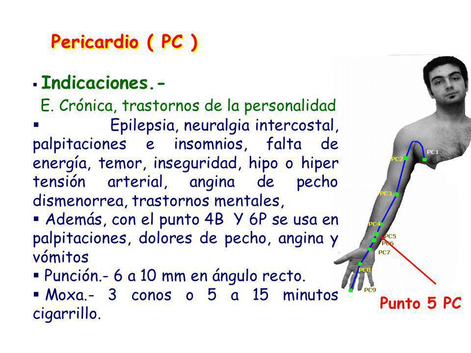 Pericardio ( PC ) Punto 5 PC Indicaciones.- E.