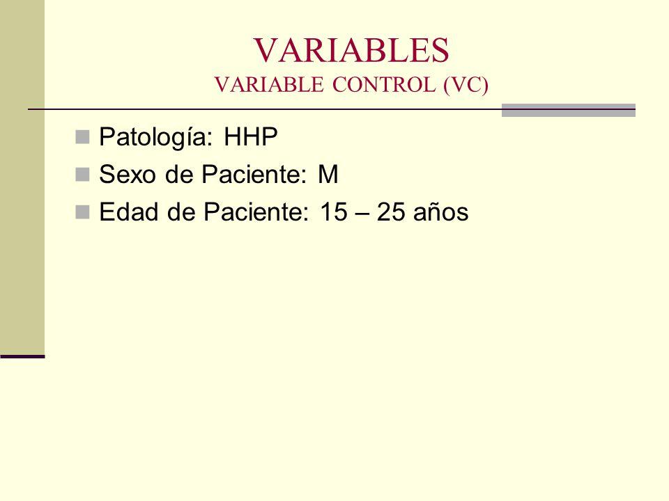 VARIABLES VARIABLE CONTROL (VC) Patología: HHP Sexo de Paciente: M Edad de Paciente: 15 – 25 años
