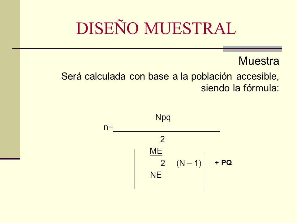 DISEÑO MUESTRAL Muestra Será calculada con base a la población accesible, siendo la fórmula: Npq n=_______________________ 2 ME 2 (N – 1) NE + PQ