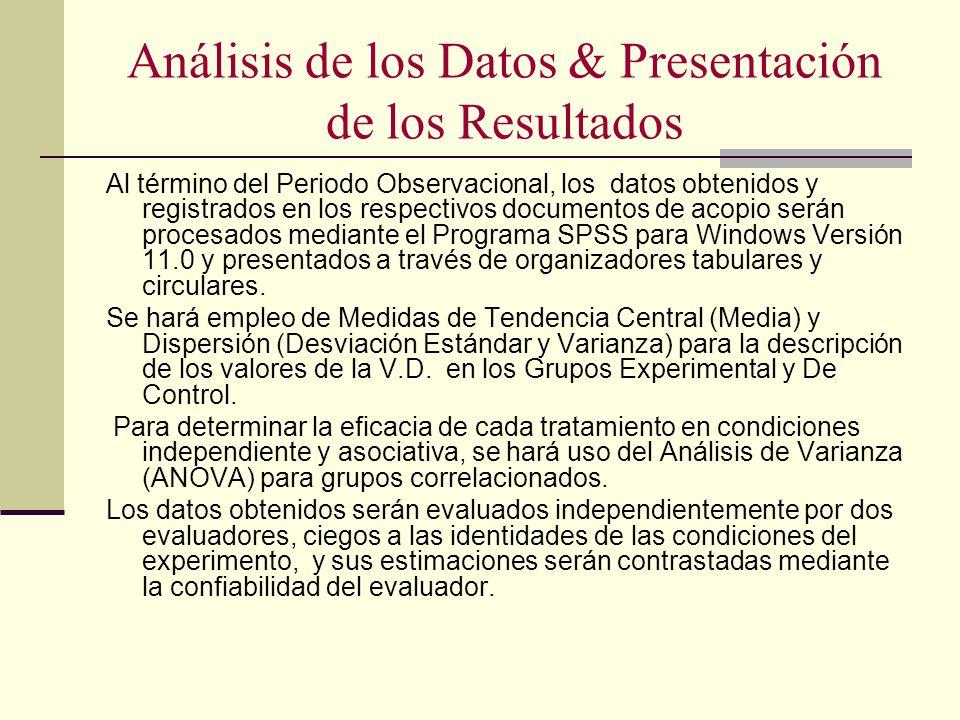 Análisis de los Datos & Presentación de los Resultados Al término del Periodo Observacional, los datos obtenidos y registrados en los respectivos docu