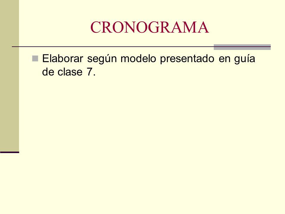 CRONOGRAMA Elaborar según modelo presentado en guía de clase 7.