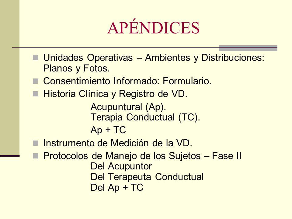 APÉNDICES Unidades Operativas – Ambientes y Distribuciones: Planos y Fotos. Consentimiento Informado: Formulario. Historia Clínica y Registro de VD. A