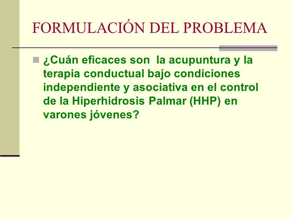 FORMULACIÓN DEL PROBLEMA ¿Cuán eficaces son la acupuntura y la terapia conductual bajo condiciones independiente y asociativa en el control de la Hipe