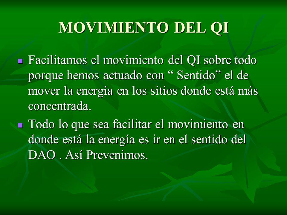 MOVIMIENTO DEL QI Facilitamos el movimiento del QI sobre todo porque hemos actuado con Sentido el de mover la energía en los sitios donde está más con