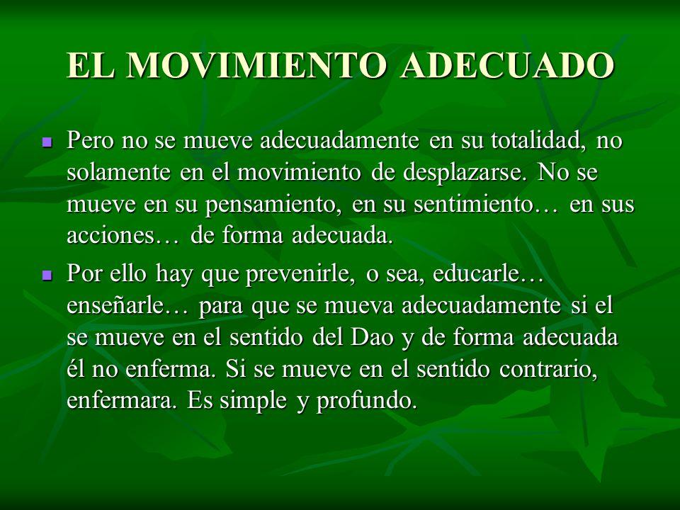 EL MOVIMIENTO ADECUADO Pero no se mueve adecuadamente en su totalidad, no solamente en el movimiento de desplazarse. No se mueve en su pensamiento, en