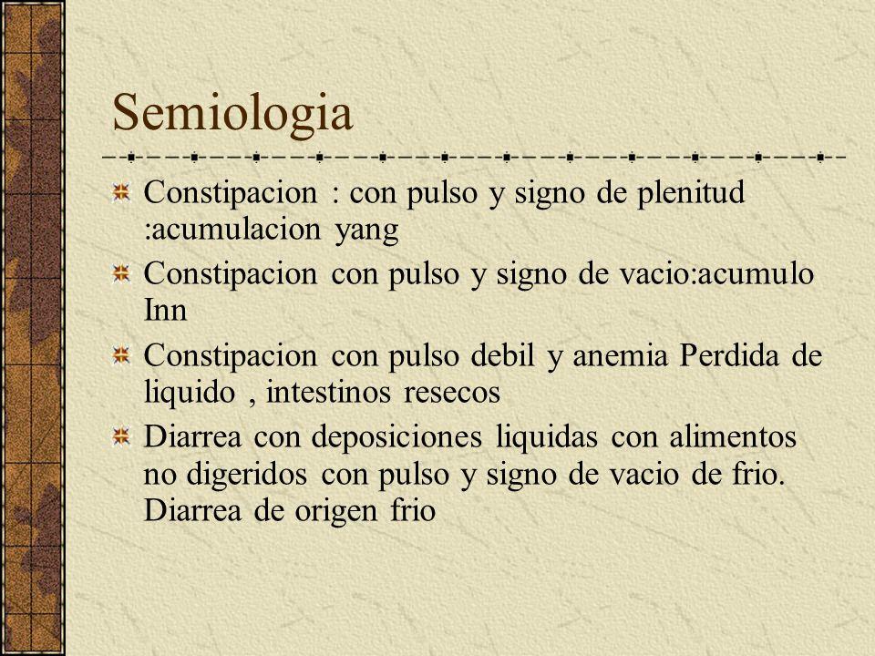 Semiologia Heces: Constipacion heces duras y secas, olor maloliente o agrio:plenitud de calor Diarrea acuosa, clara olor nauseabundo: vacio de frio. D