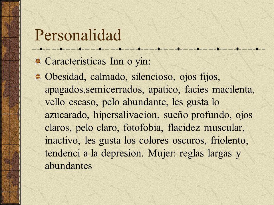 Personalidad Caracteristicas yang: Delgadez, verbosidad,excitación,ojos vivos,moviles,deportista,facies roja,calvos, vellosidad en exceso, les gusta l