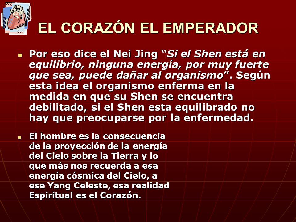 EL CORAZON EL EMPERADOR El emperador ha de estar enterado de todo lo que sucede en su Imperio ( el organismo) San Jiao seria el encargado de la información física del organismo, para que este enterado de todo lo que sucede en su pueblo.