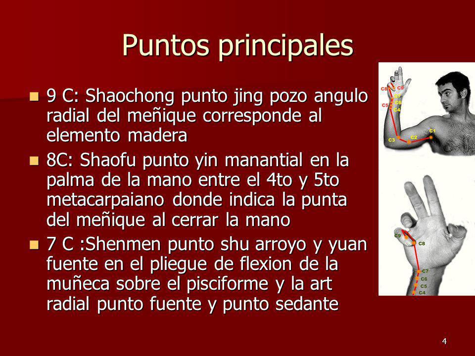 4 Puntos principales 9 C: Shaochong punto jing pozo angulo radial del meñique corresponde al elemento madera 9 C: Shaochong punto jing pozo angulo rad