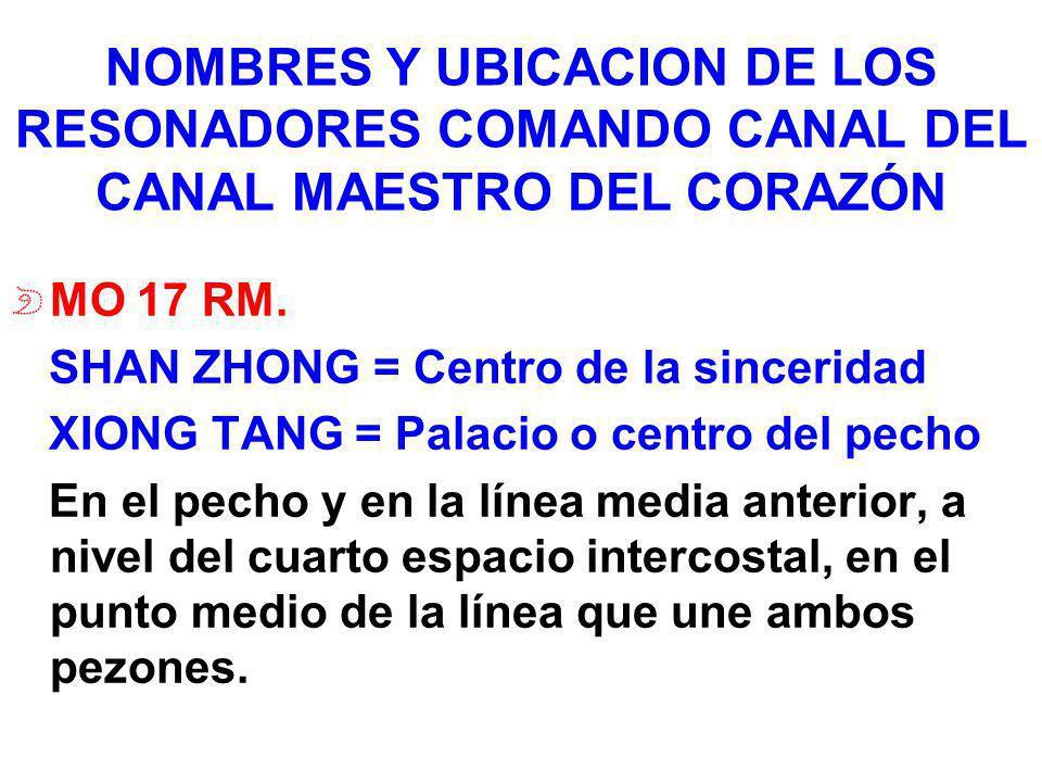 NOMBRES Y UBICACION DE LOS RESONADORES COMANDO CANAL DEL CANAL MAESTRO DEL CORAZÓN MO 17 RM. SHAN ZHONG = Centro de la sinceridad XIONG TANG = Palacio