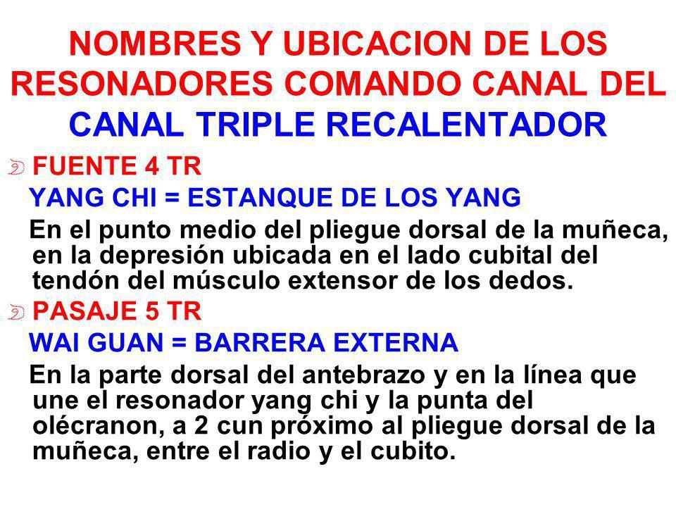 NOMBRES Y UBICACION DE LOS RESONADORES COMANDO CANAL DEL CANAL TRIPLE RECALENTADOR FUENTE 4 TR YANG CHI = ESTANQUE DE LOS YANG En el punto medio del p