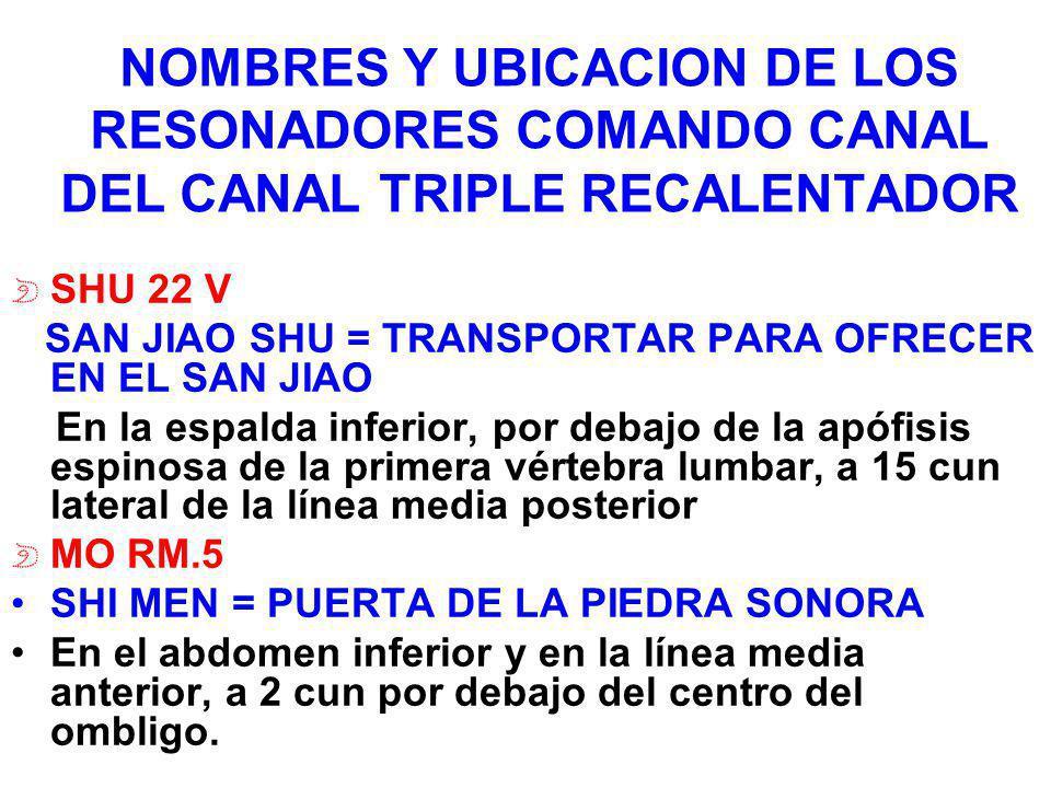 NOMBRES Y UBICACION DE LOS RESONADORES COMANDO CANAL DEL CANAL TRIPLE RECALENTADOR SHU 22 V SAN JIAO SHU = TRANSPORTAR PARA OFRECER EN EL SAN JIAO En