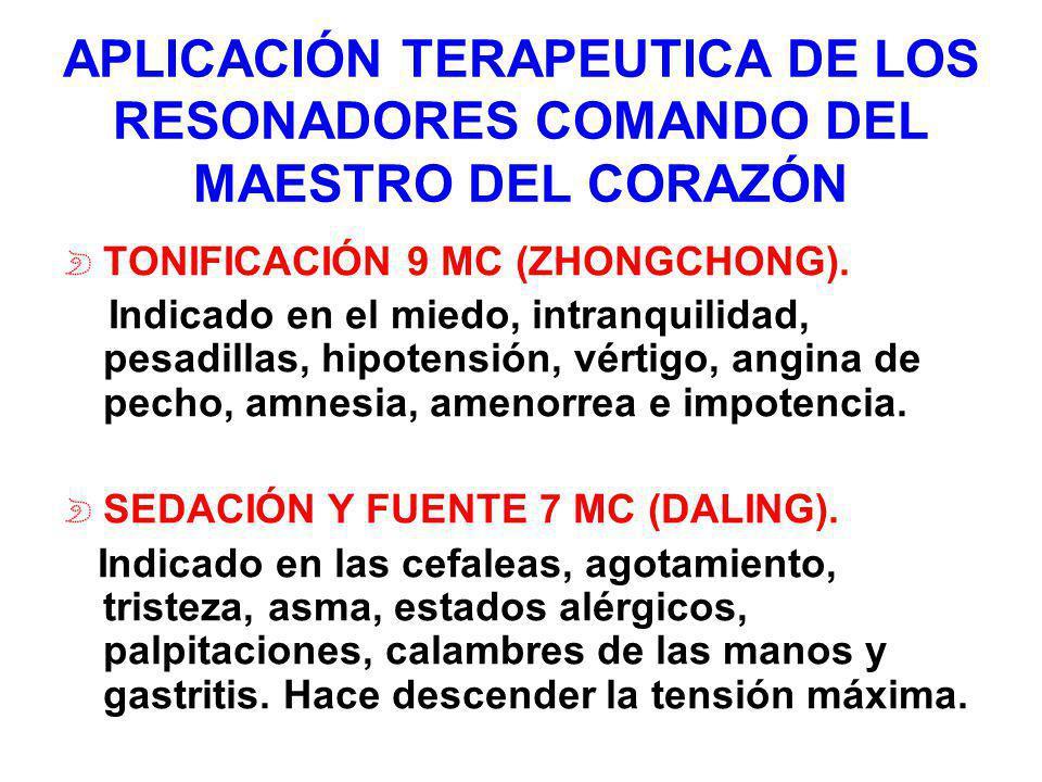 APLICACIÓN TERAPEUTICA DE LOS RESONADORES COMANDO DEL MAESTRO DEL CORAZÓN TONIFICACIÓN 9 MC (ZHONGCHONG). Indicado en el miedo, intranquilidad, pesadi