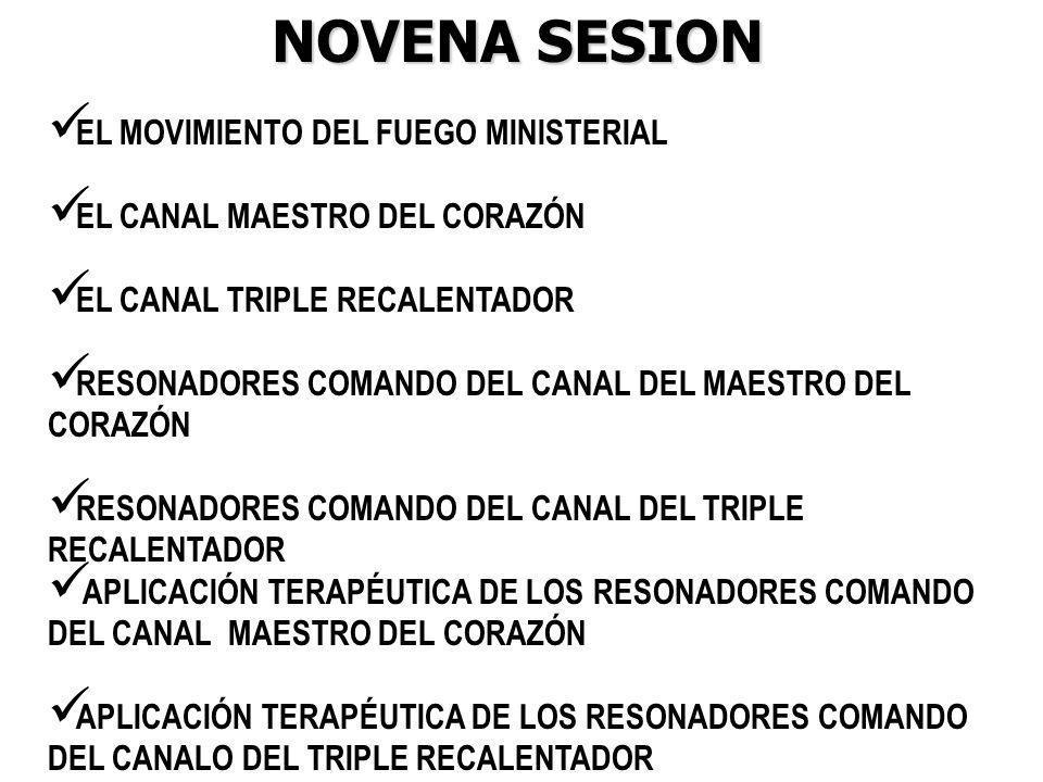 NOVENA SESION EL MOVIMIENTO DEL FUEGO MINISTERIAL EL CANAL MAESTRO DEL CORAZÓN EL CANAL TRIPLE RECALENTADOR RESONADORES COMANDO DEL CANAL DEL MAESTRO