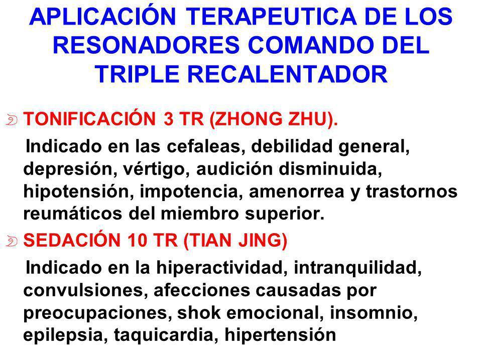 APLICACIÓN TERAPEUTICA DE LOS RESONADORES COMANDO DEL TRIPLE RECALENTADOR TONIFICACIÓN 3 TR (ZHONG ZHU). Indicado en las cefaleas, debilidad general,