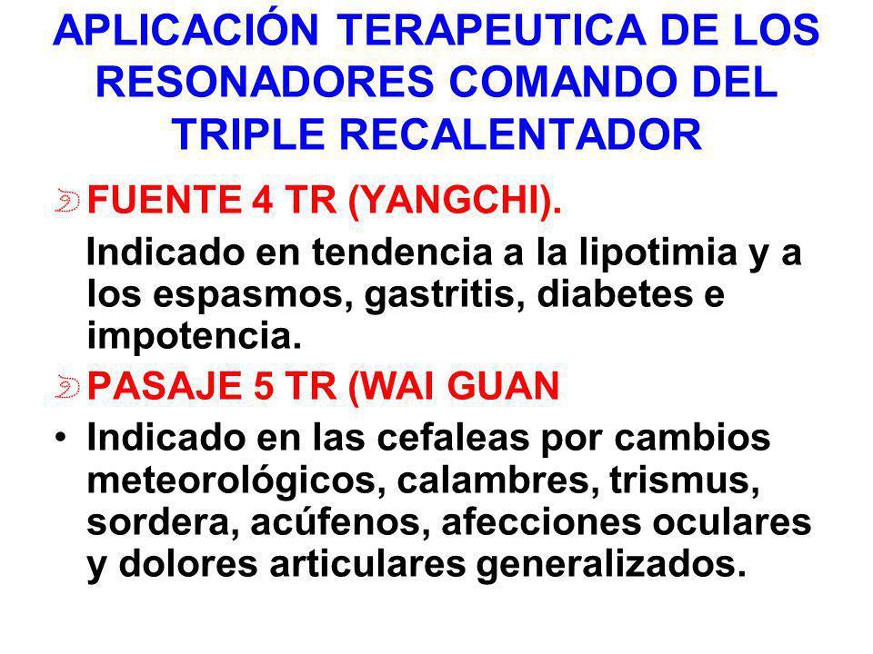 APLICACIÓN TERAPEUTICA DE LOS RESONADORES COMANDO DEL TRIPLE RECALENTADOR FUENTE 4 TR (YANGCHI). Indicado en tendencia a la lipotimia y a los espasmos