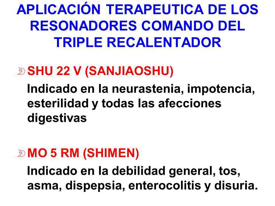 APLICACIÓN TERAPEUTICA DE LOS RESONADORES COMANDO DEL TRIPLE RECALENTADOR SHU 22 V (SANJIAOSHU) Indicado en la neurastenia, impotencia, esterilidad y