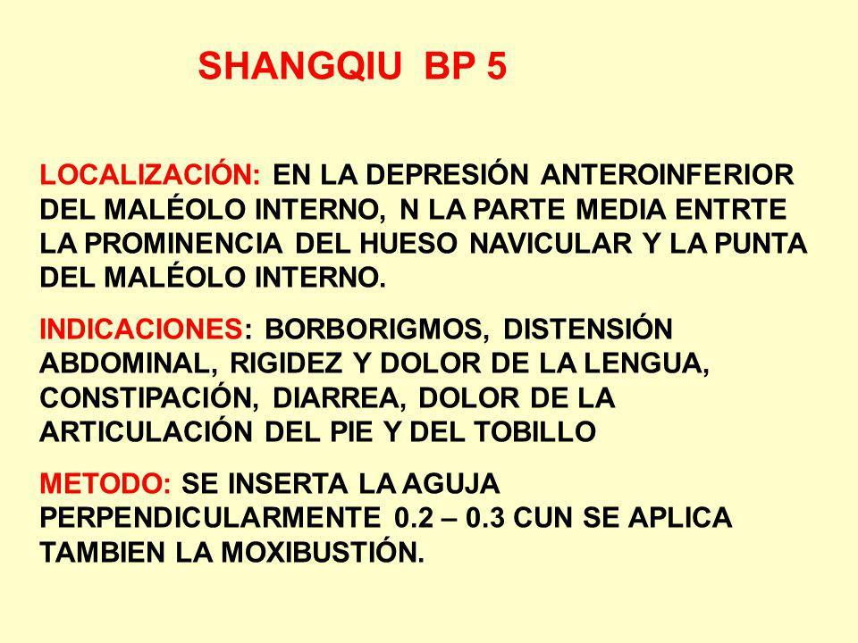 SHANGQIU BP 5 LOCALIZACIÓN: EN LA DEPRESIÓN ANTEROINFERIOR DEL MALÉOLO INTERNO, N LA PARTE MEDIA ENTRTE LA PROMINENCIA DEL HUESO NAVICULAR Y LA PUNTA