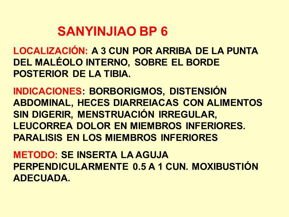 SANYINJIAO BP 6 LOCALIZACIÓN: A 3 CUN POR ARRIBA DE LA PUNTA DEL MALÉOLO INTERNO, SOBRE EL BORDE POSTERIOR DE LA TIBIA. INDICACIONES: BORBORIGMOS, DIS