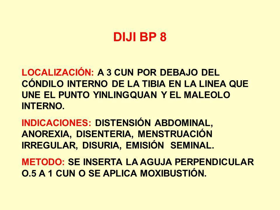 DIJI BP 8 LOCALIZACIÓN: A 3 CUN POR DEBAJO DEL CÓNDILO INTERNO DE LA TIBIA EN LA LINEA QUE UNE EL PUNTO YINLINGQUAN Y EL MALEOLO INTERNO. INDICACIONES
