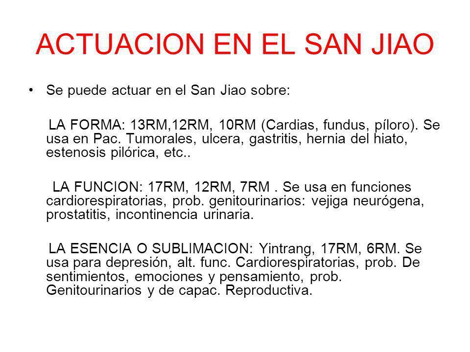 ACTUACION EN EL SAN JIAO Se puede actuar en el San Jiao sobre: LA FORMA: 13RM,12RM, 10RM (Cardias, fundus, píloro). Se usa en Pac. Tumorales, ulcera,