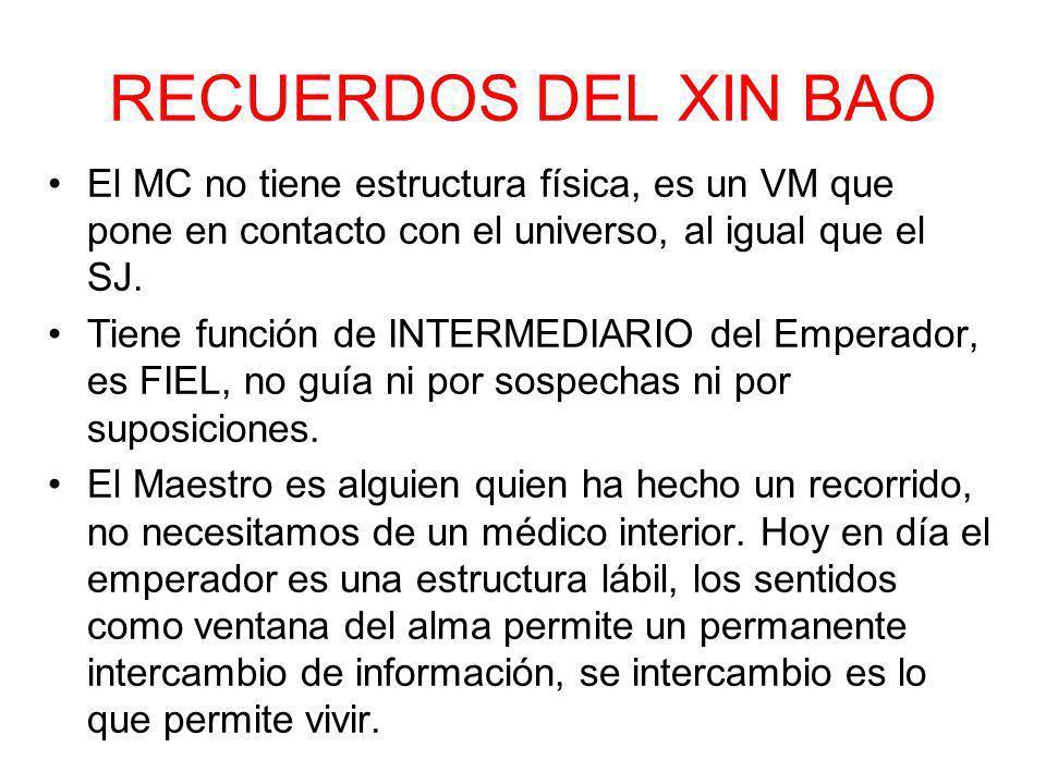 RECUERDOS DEL XIN BAO El MC no tiene estructura física, es un VM que pone en contacto con el universo, al igual que el SJ. Tiene función de INTERMEDIA