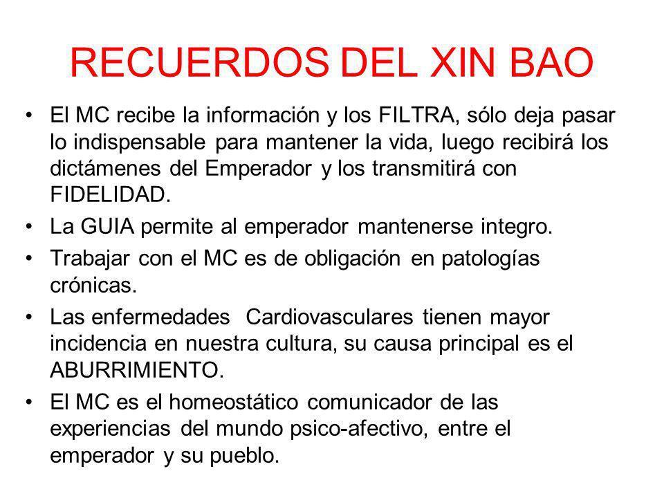 RECUERDOS DEL XIN BAO El MC recibe la información y los FILTRA, sólo deja pasar lo indispensable para mantener la vida, luego recibirá los dictámenes