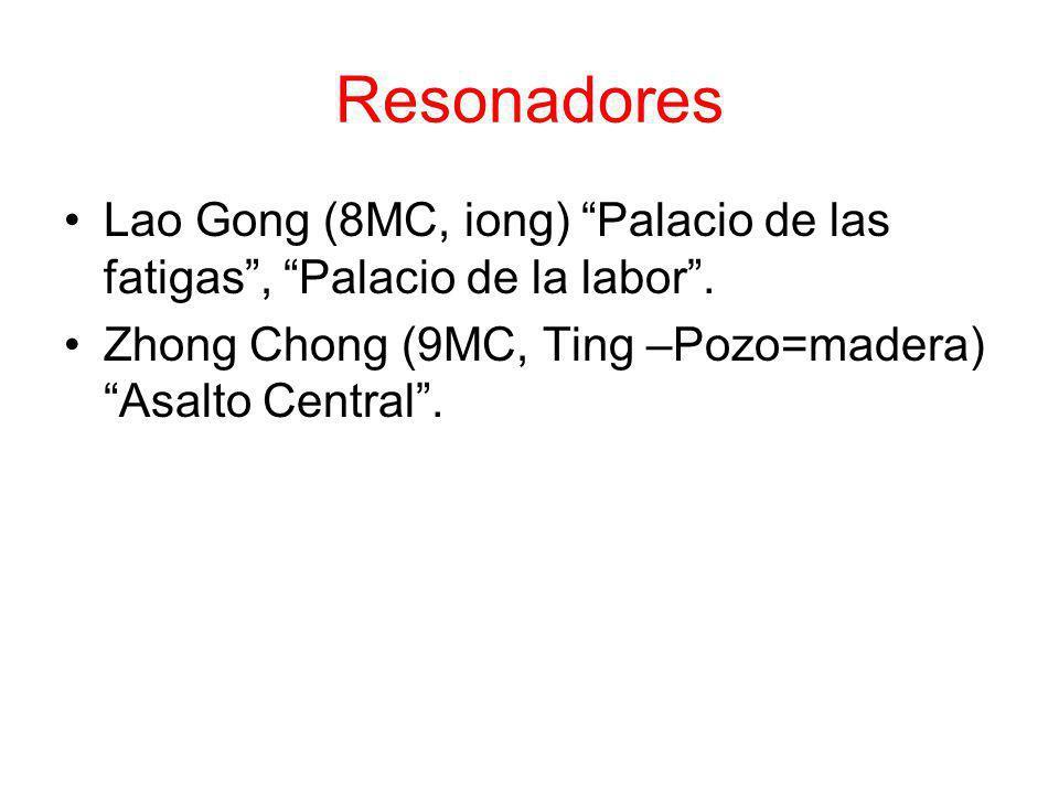Resonadores Lao Gong (8MC, iong) Palacio de las fatigas, Palacio de la labor. Zhong Chong (9MC, Ting –Pozo=madera) Asalto Central.