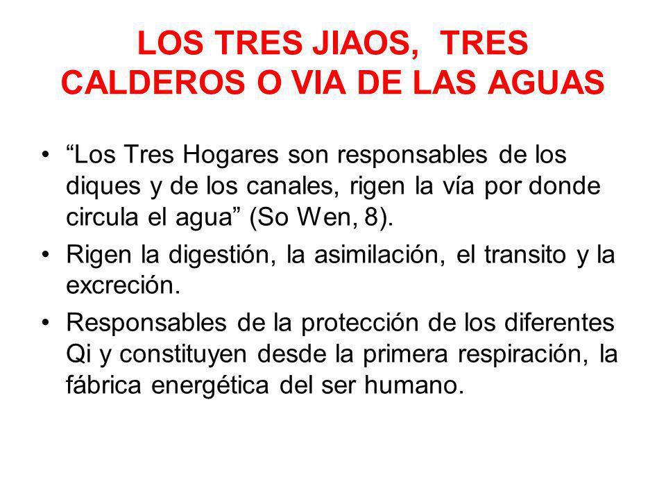 LOS TRES JIAOS, TRES CALDEROS O VIA DE LAS AGUAS Los Tres Hogares son responsables de los diques y de los canales, rigen la vía por donde circula el a