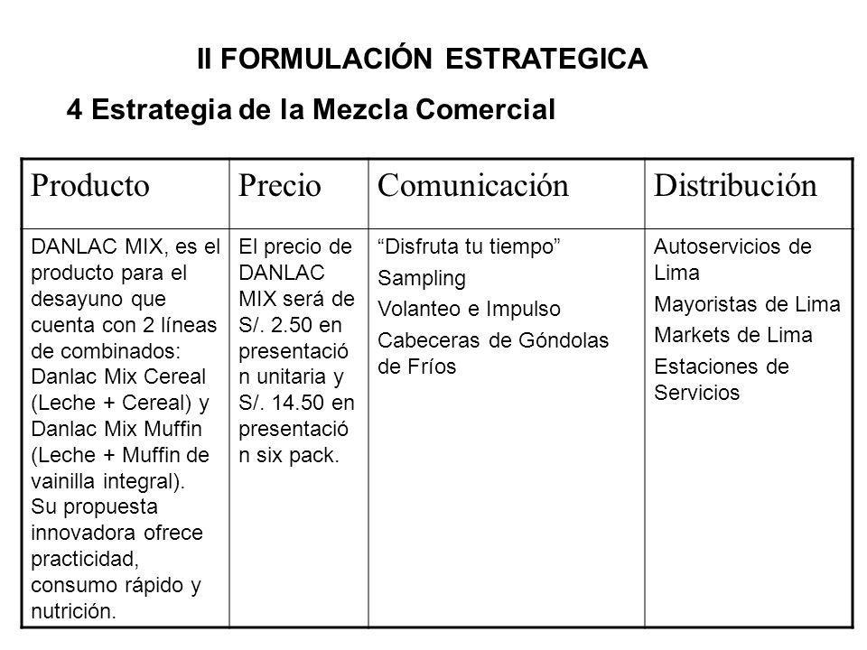 4 Estrategia de la Mezcla Comercial ProductoPrecioComunicaciónDistribución DANLAC MIX, es el producto para el desayuno que cuenta con 2 líneas de comb