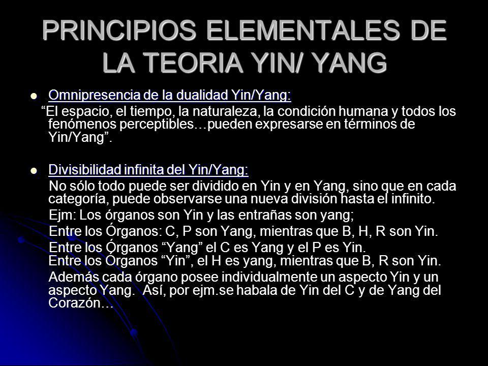 PRINCIPIOS ELEMENTALES DE LA TEORIA YIN/ YANG Omnipresencia de la dualidad Yin/Yang: Omnipresencia de la dualidad Yin/Yang: El espacio, el tiempo, la