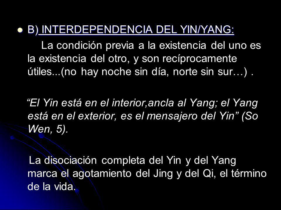 B) INTERDEPENDENCIA DEL YIN/YANG: B) INTERDEPENDENCIA DEL YIN/YANG: La condición previa a la existencia del uno es la existencia del otro, y son recíp