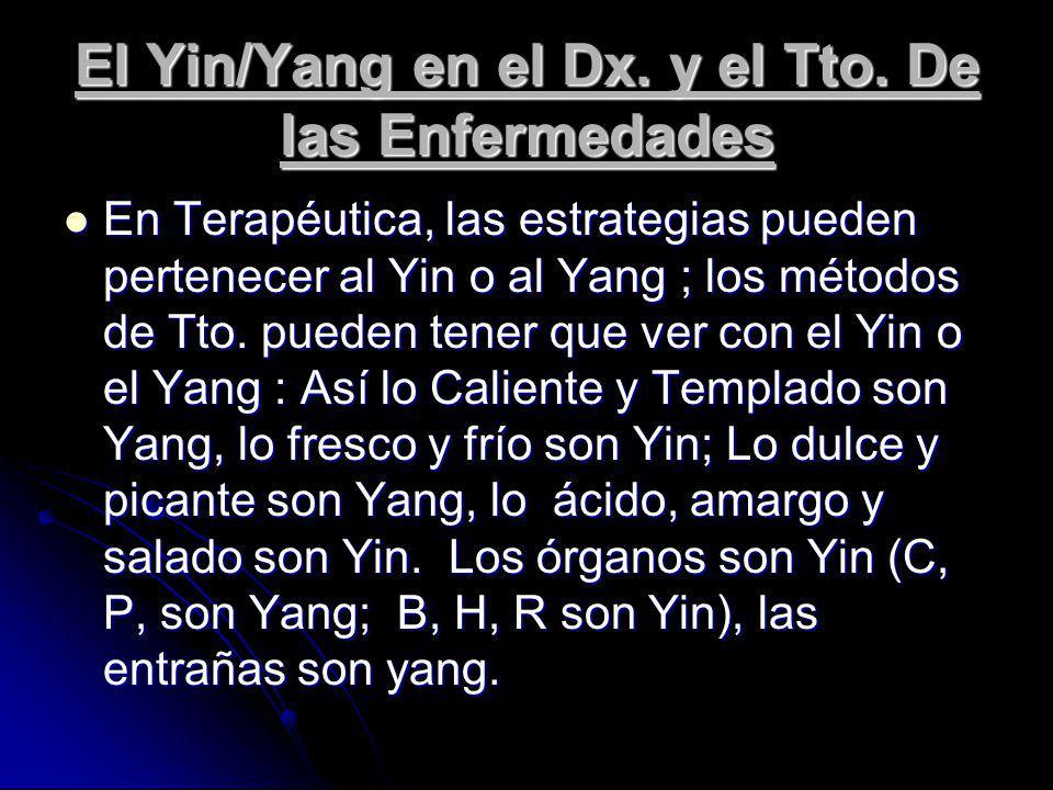 El Yin/Yang en el Dx. y el Tto. De las Enfermedades En Terapéutica, las estrategias pueden pertenecer al Yin o al Yang ; los métodos de Tto. pueden te