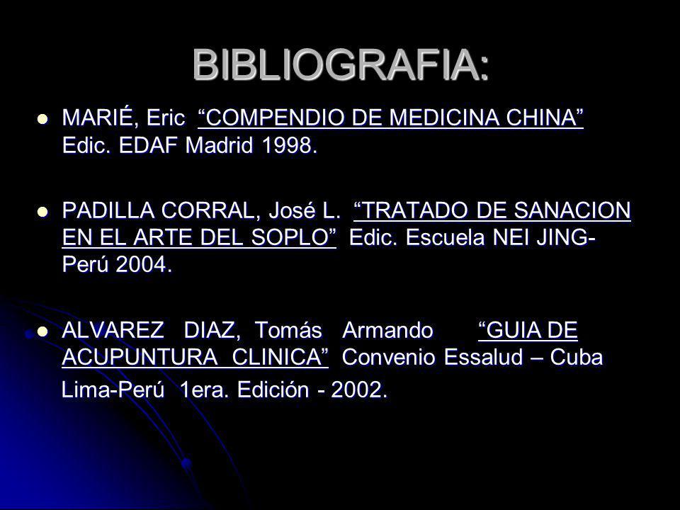 BIBLIOGRAFIA: MARIÉ, Eric COMPENDIO DE MEDICINA CHINA Edic. EDAF Madrid 1998. MARIÉ, Eric COMPENDIO DE MEDICINA CHINA Edic. EDAF Madrid 1998. PADILLA